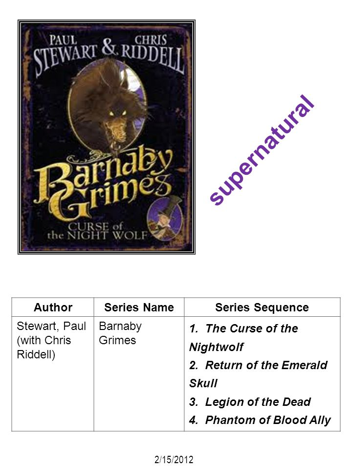 supernatural Author Series Name Series Sequence