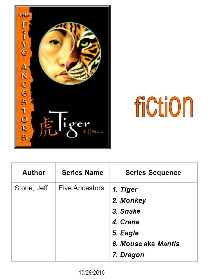 fiction Author Series Name Series Sequence Stone, Jeff Five Ancestors