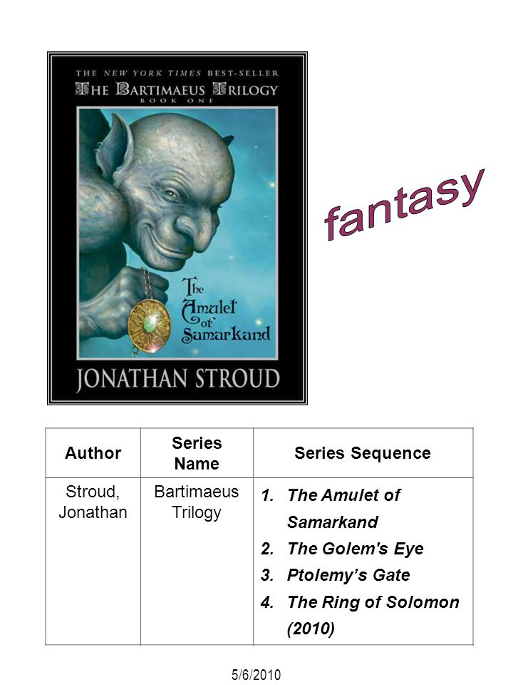 fantasy Author Series Name Series Sequence Stroud, Jonathan