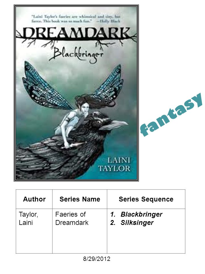 fantasy Author Series Name Series Sequence Taylor, Laini