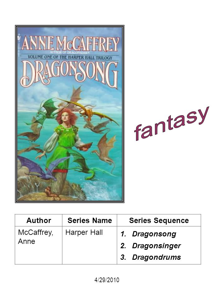 fantasy Author Series Name Series Sequence McCaffrey, Anne Harper Hall
