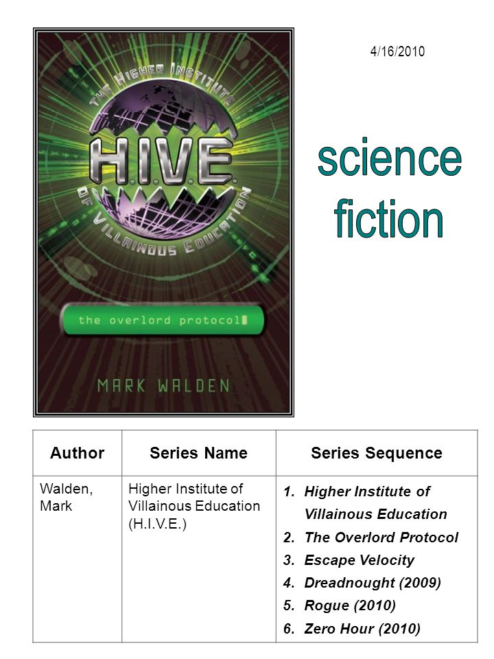 science fiction Author Series Name Series Sequence 4/16/2010