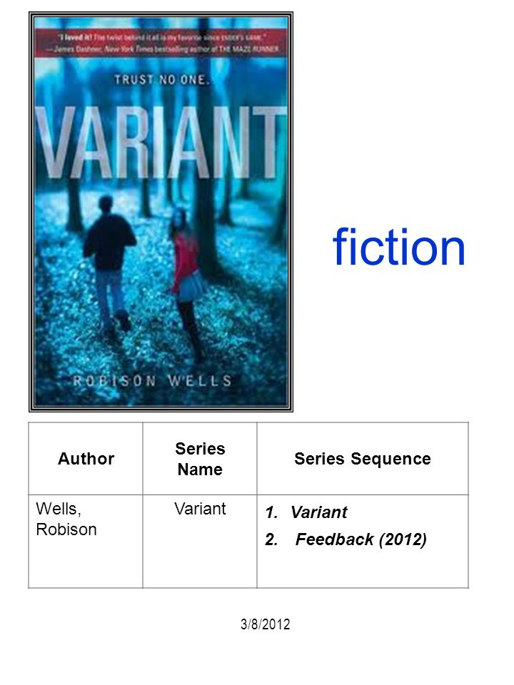 fiction Author Series Name Series Sequence Wells, Robison Variant