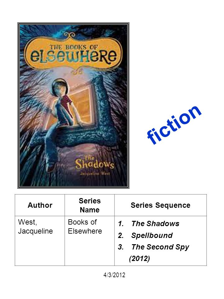 fiction Author Series Name Series Sequence West, Jacqueline