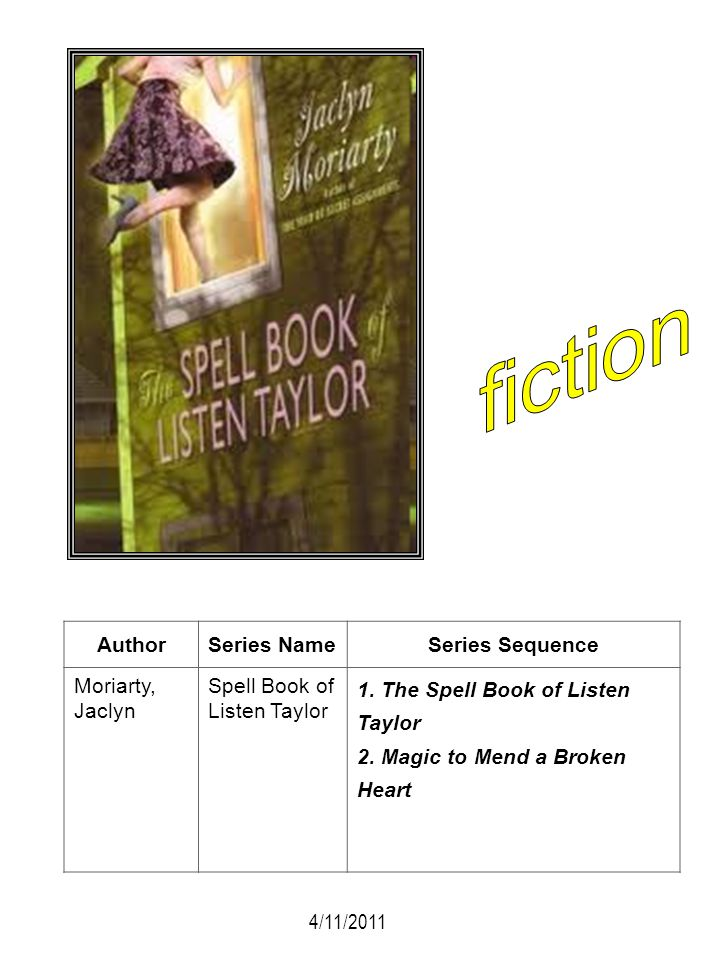 fiction Author Series Name Series Sequence Moriarty, Jaclyn