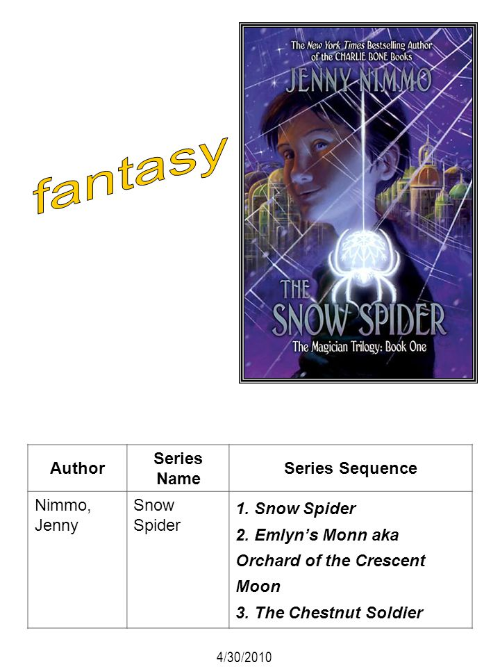 fantasy Author Series Name Series Sequence Nimmo, Jenny Snow Spider