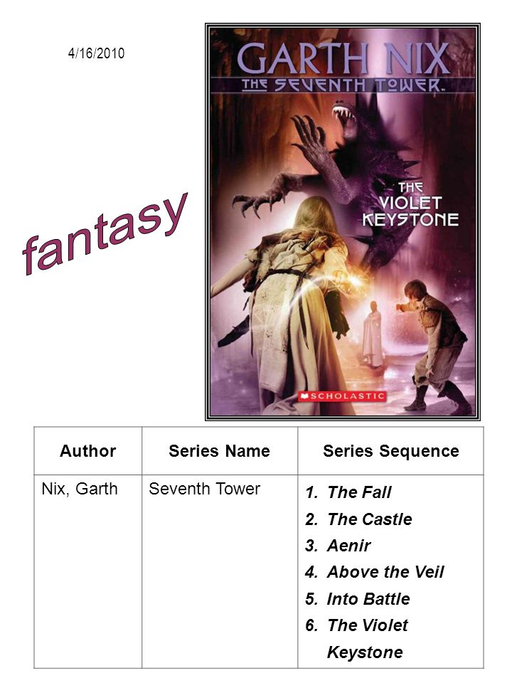 fantasy Author Series Name Series Sequence Nix, Garth Seventh Tower