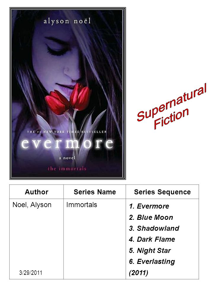 Supernatural Fiction Author Series Name Series Sequence Noel, Alyson
