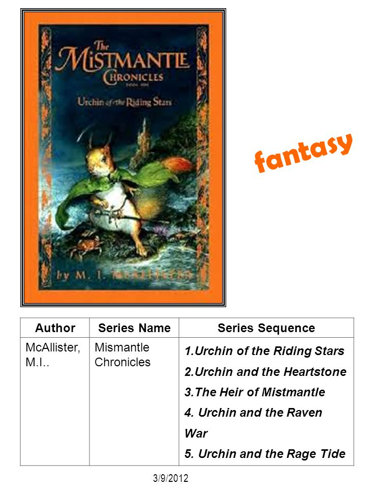 fantasy Author Series Name Series Sequence McAllister, M.I..