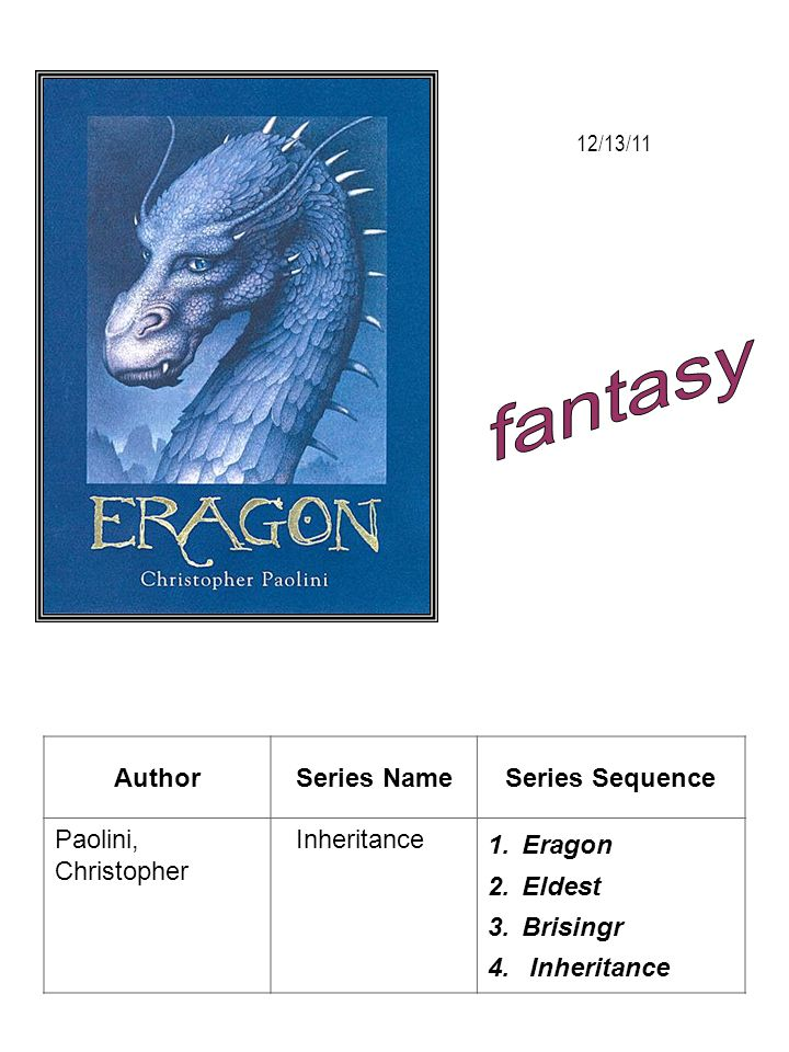 fantasy Author Series Name Series Sequence Paolini, Christopher