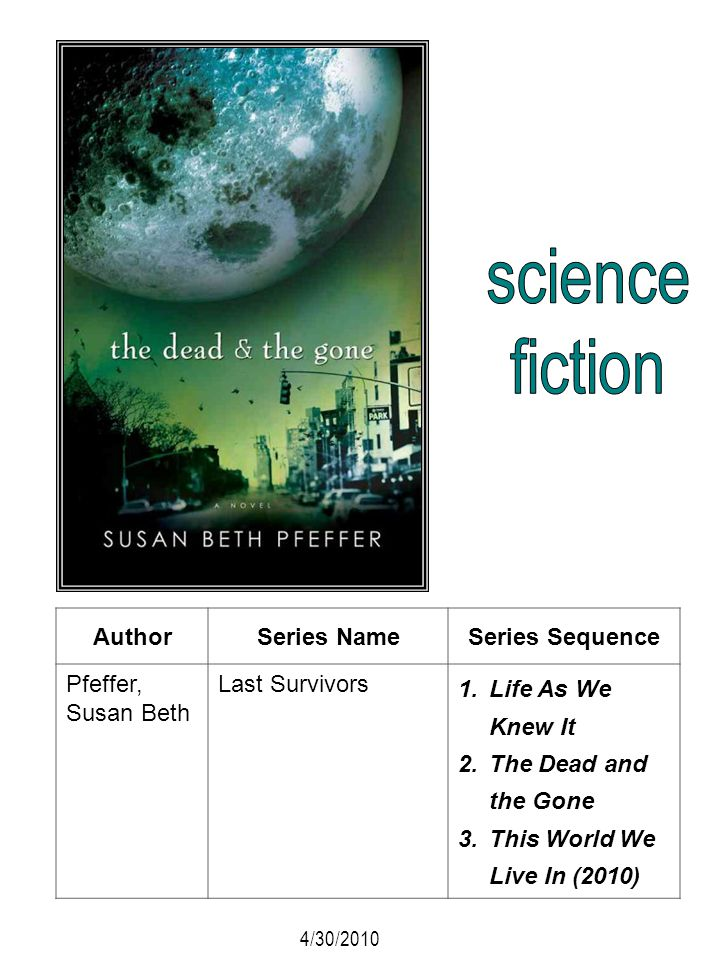 science fiction Author Series Name Series Sequence Pfeffer, Susan Beth
