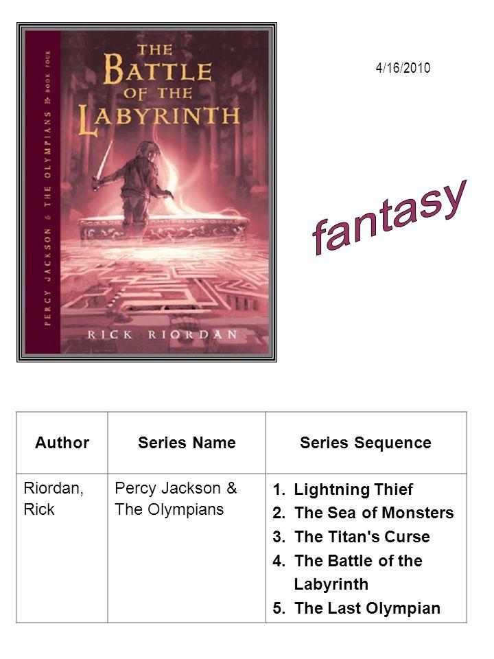 fantasy Author Series Name Series Sequence Riordan, Rick