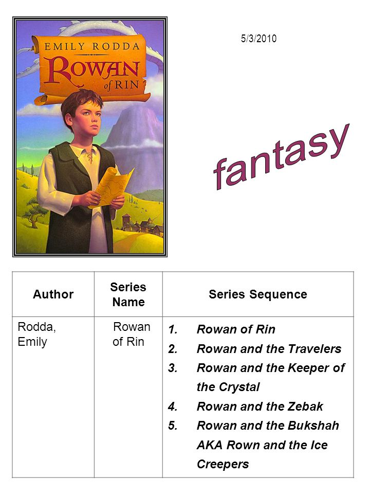 fantasy Author Series Name Series Sequence Rodda, Emily Rowan of Rin