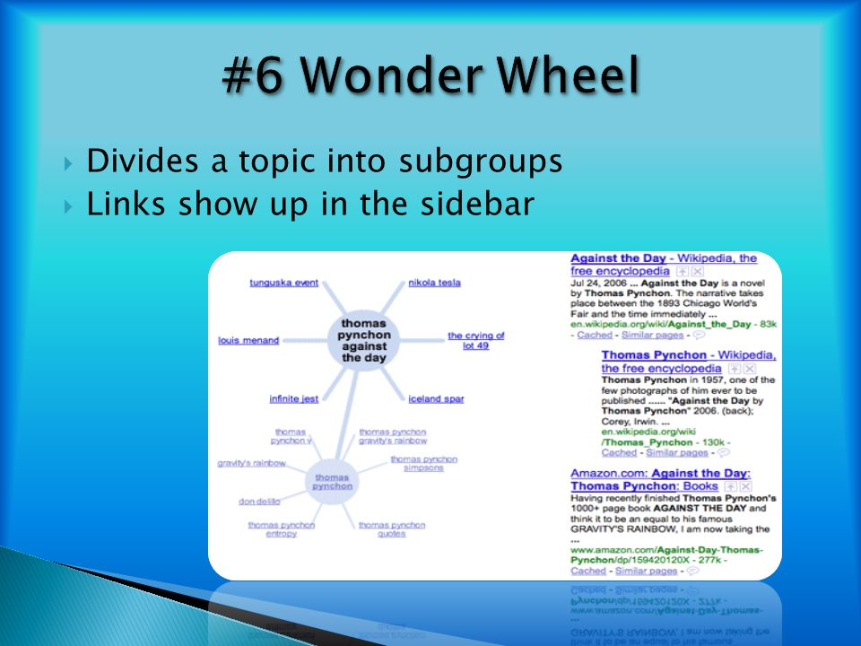 #6 Wonder Wheel Divides a topic into subgroups