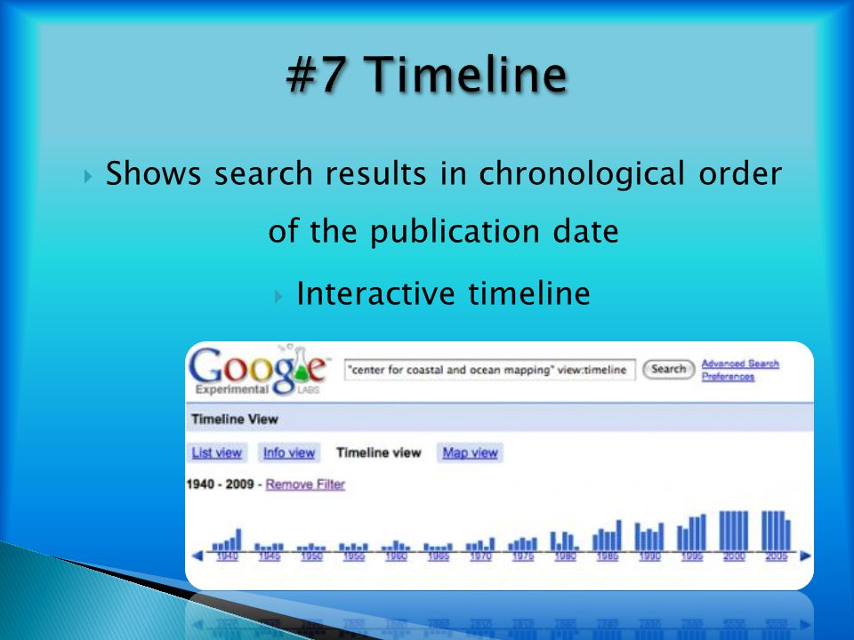 Shows search results in chronological order of the publication date