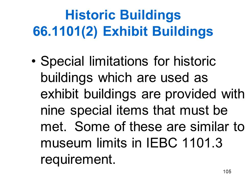 Historic Buildings 66.1101(2) Exhibit Buildings
