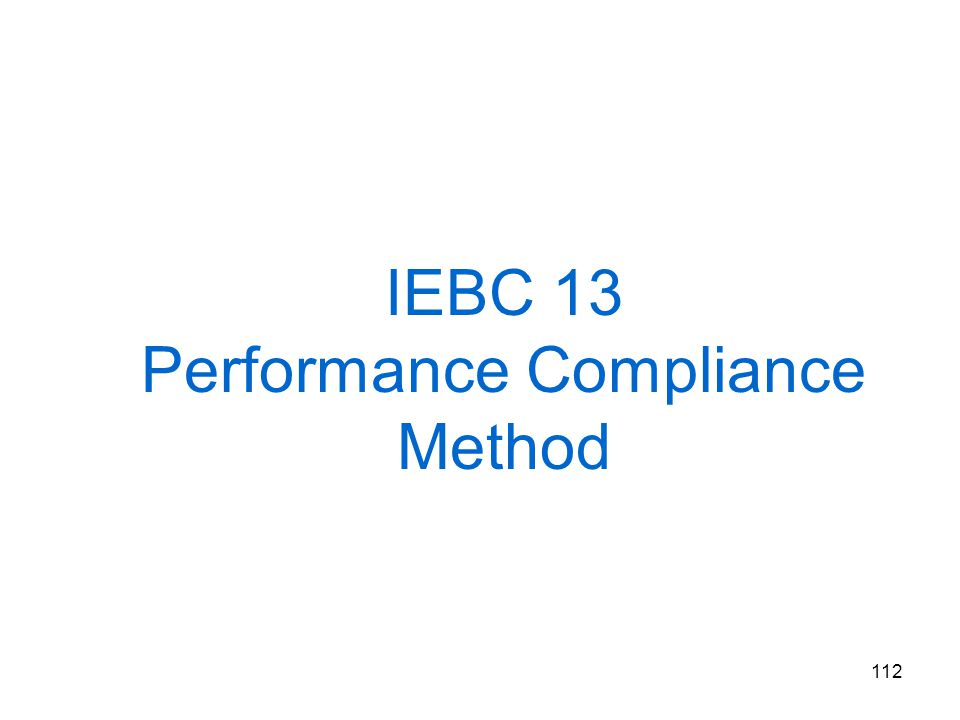 IEBC 13 Performance Compliance Method