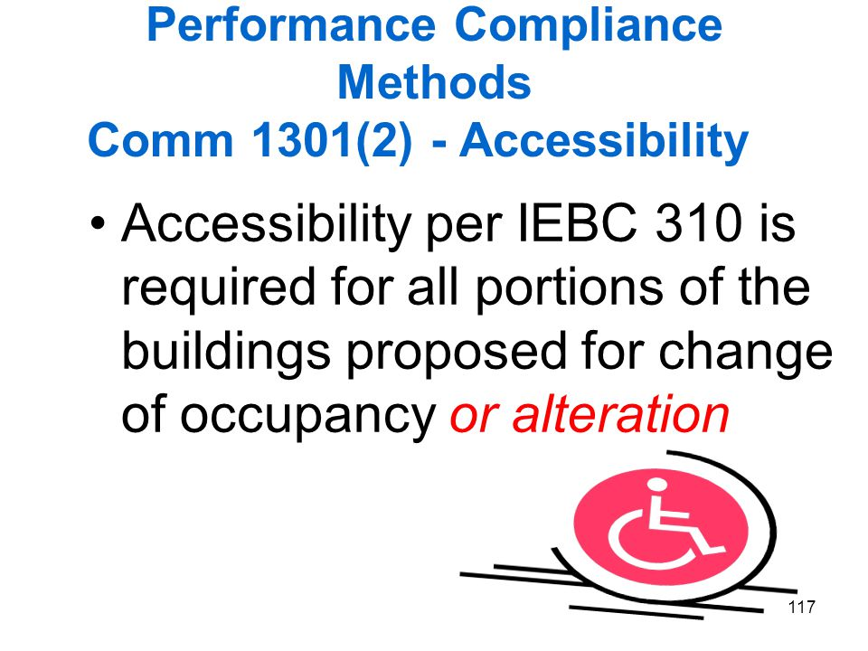 Performance Compliance Methods Comm 1301(2) - Accessibility