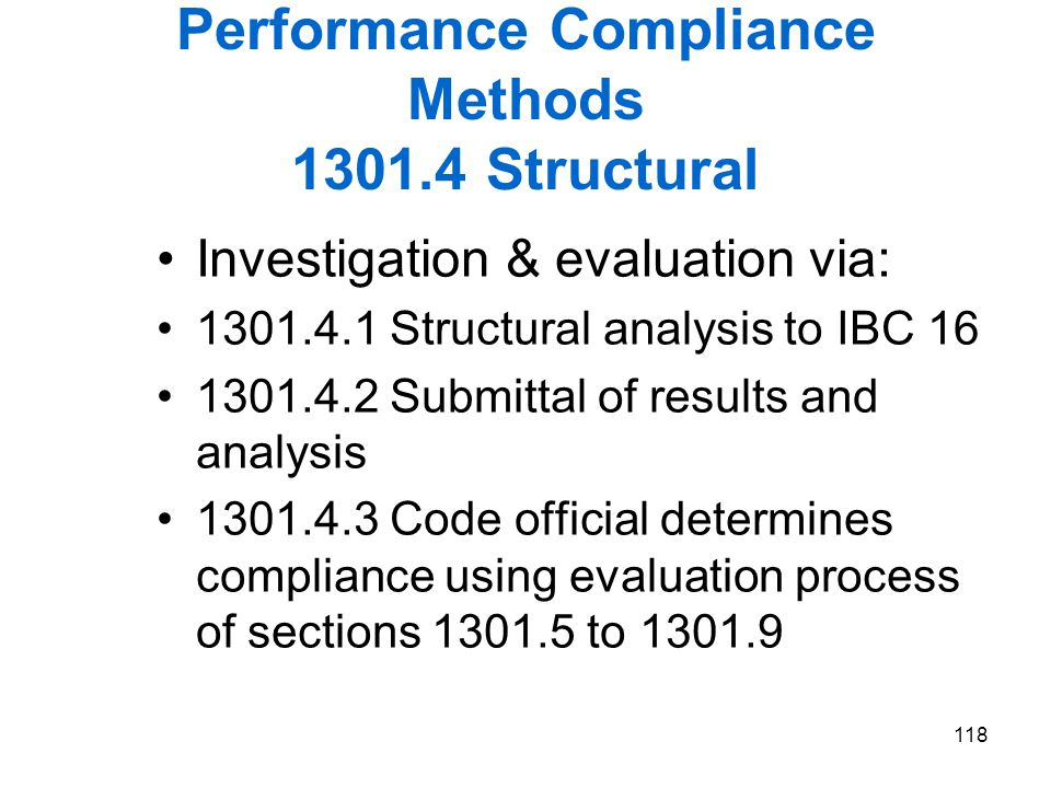 Performance Compliance Methods 1301.4 Structural