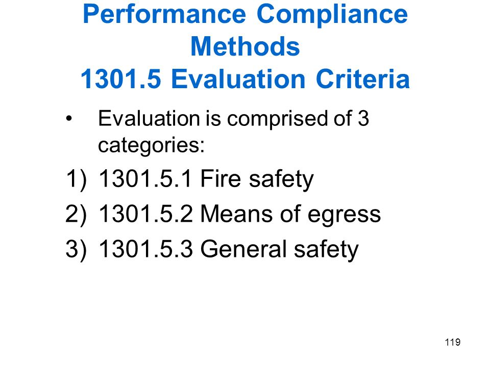 Performance Compliance Methods 1301.5 Evaluation Criteria