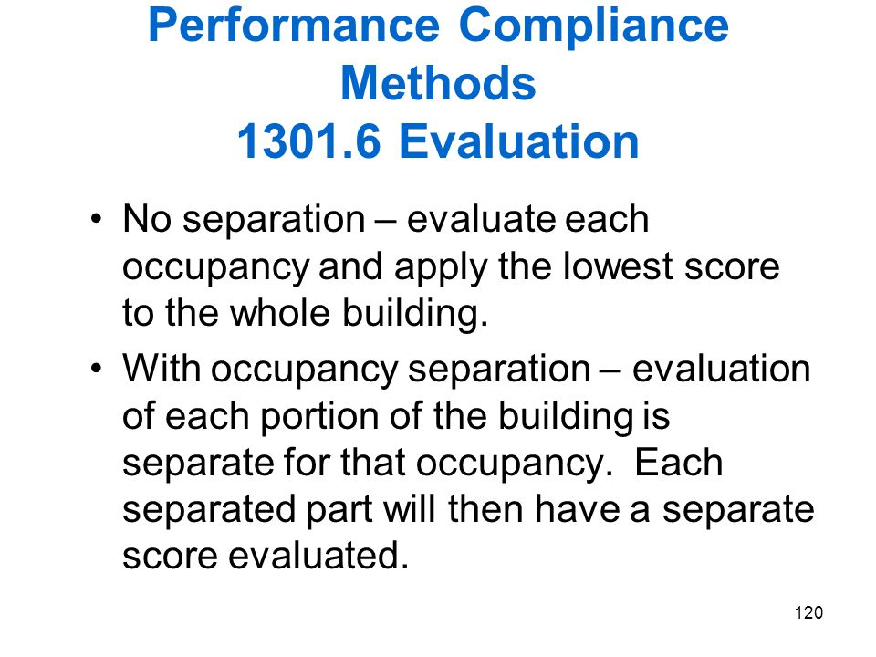 Performance Compliance Methods 1301.6 Evaluation