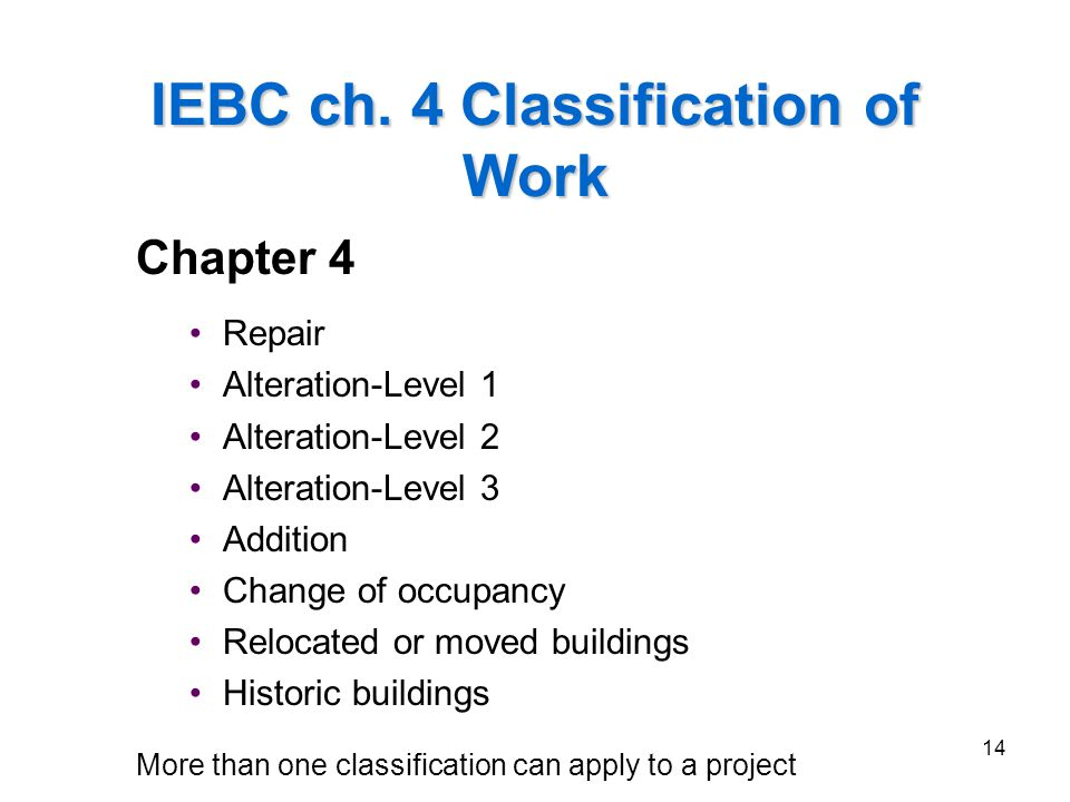 IEBC ch. 4 Classification of Work