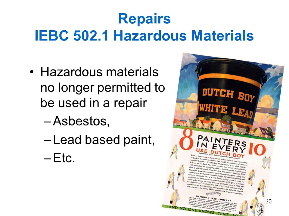 Repairs IEBC 502.1 Hazardous Materials