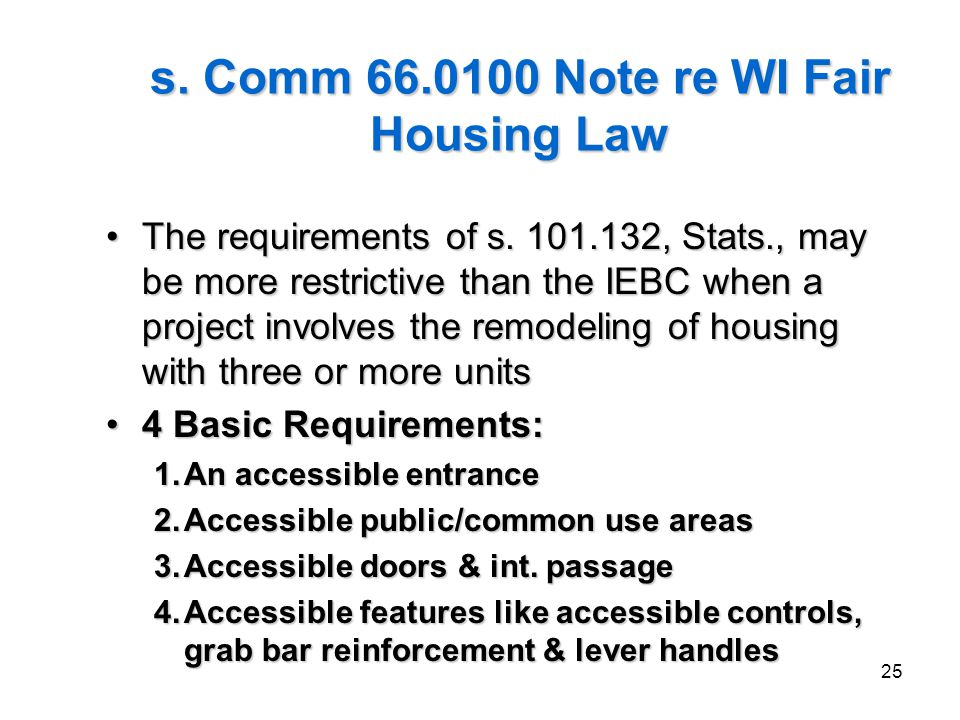s. Comm 66.0100 Note re WI Fair Housing Law