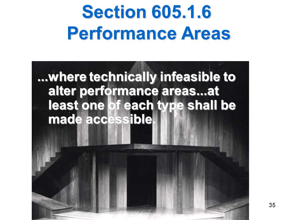 Section 605.1.6 Performance Areas