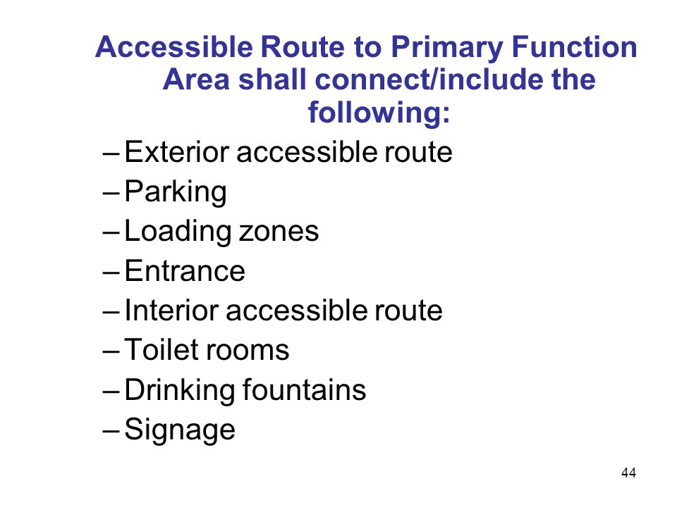 Exterior accessible route Parking Loading zones Entrance