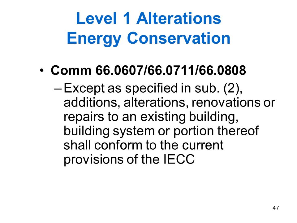 Level 1 Alterations Energy Conservation