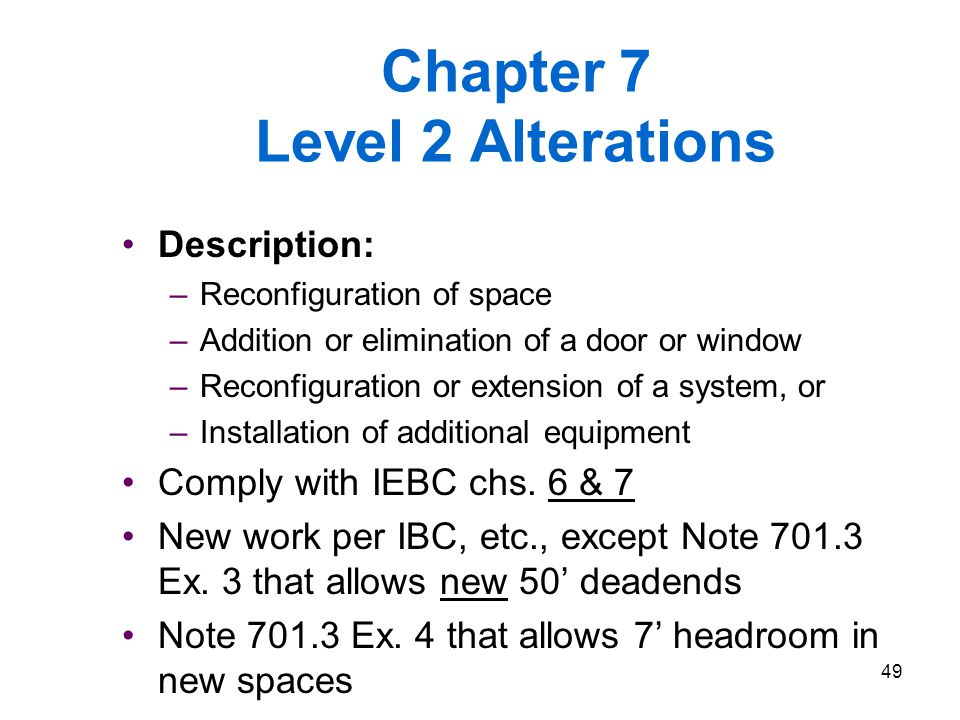Chapter 7 Level 2 Alterations