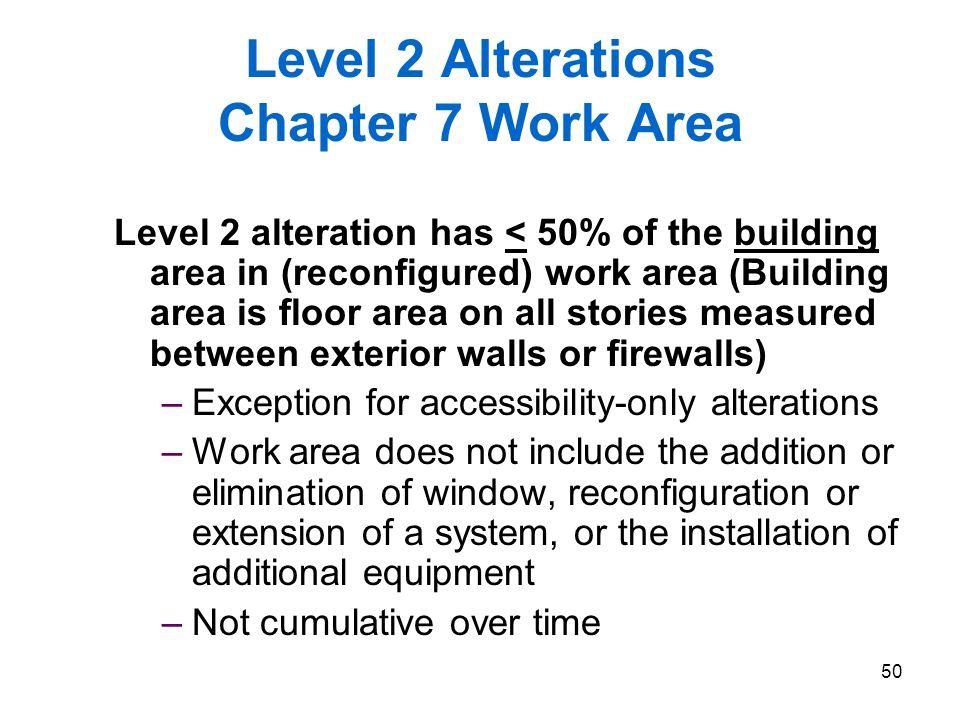 Level 2 Alterations Chapter 7 Work Area