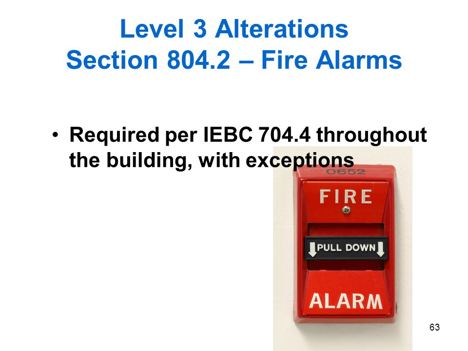 Level 3 Alterations Section 804.2 – Fire Alarms