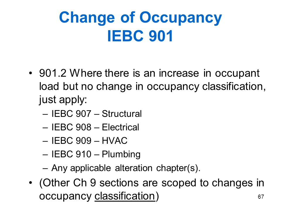 Change of Occupancy IEBC 901