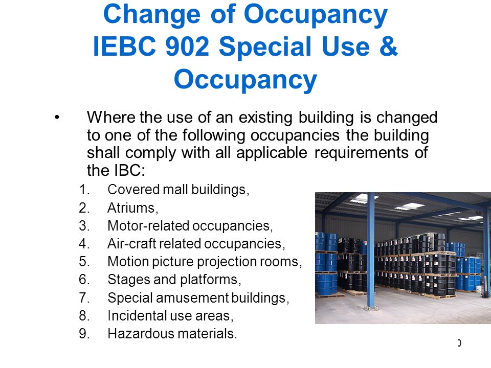 Change of Occupancy IEBC 902 Special Use & Occupancy