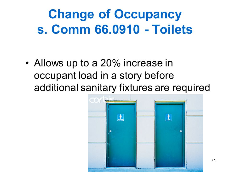 Change of Occupancy s. Comm 66.0910 - Toilets