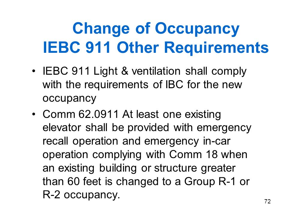 Change of Occupancy IEBC 911 Other Requirements