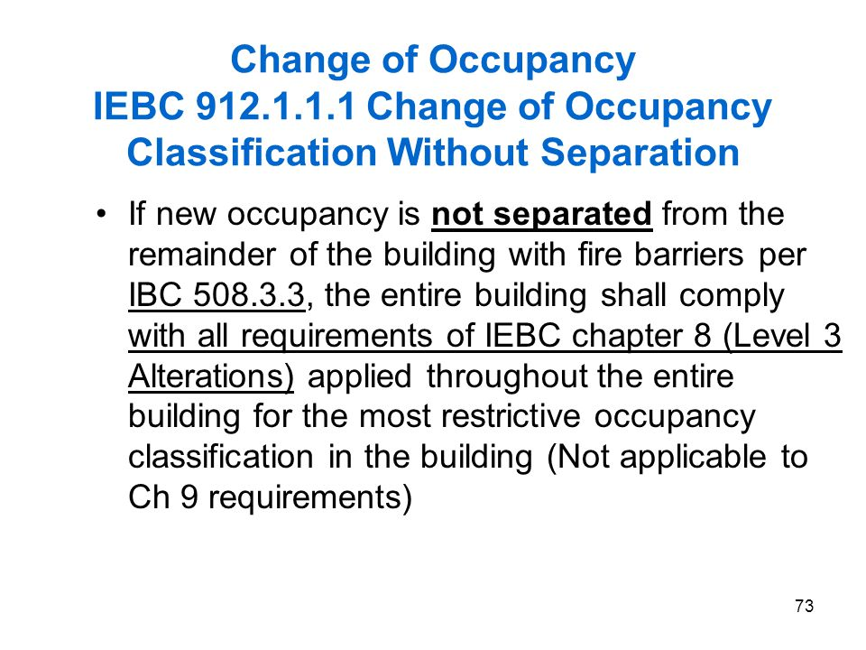 2006 IEBC Fundamentals 3/31/2017. Change of Occupancy IEBC 912.1.1.1 Change of Occupancy Classification Without Separation.