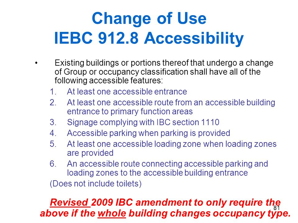 Change of Use IEBC 912.8 Accessibility