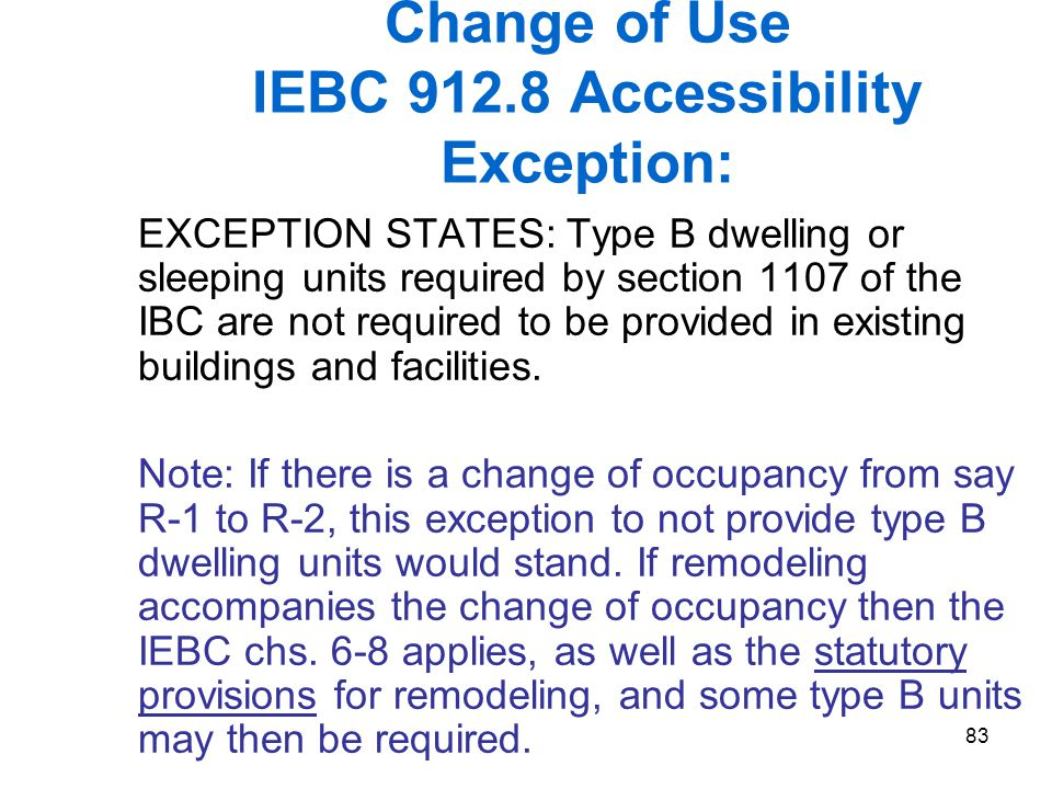 Change of Use IEBC 912.8 Accessibility Exception: