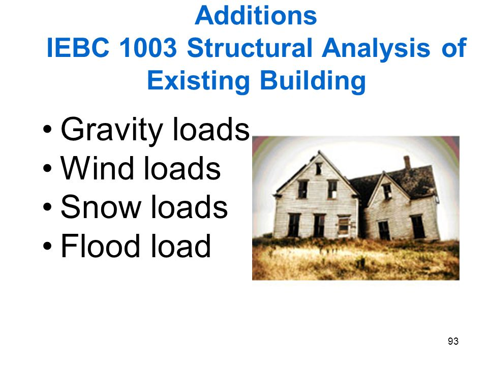Additions IEBC 1003 Structural Analysis of Existing Building