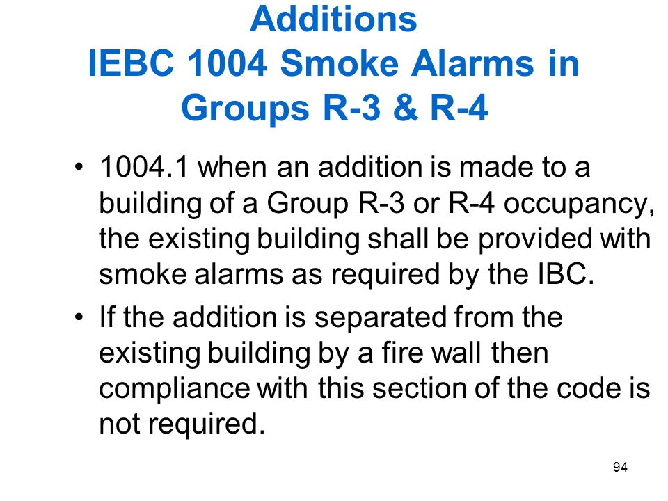 Additions IEBC 1004 Smoke Alarms in Groups R-3 & R-4