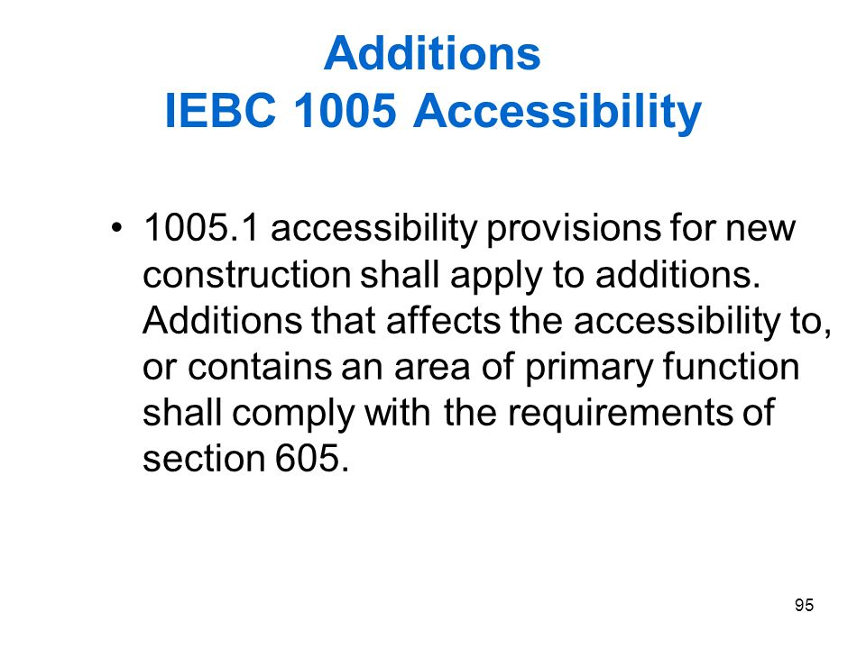 Additions IEBC 1005 Accessibility