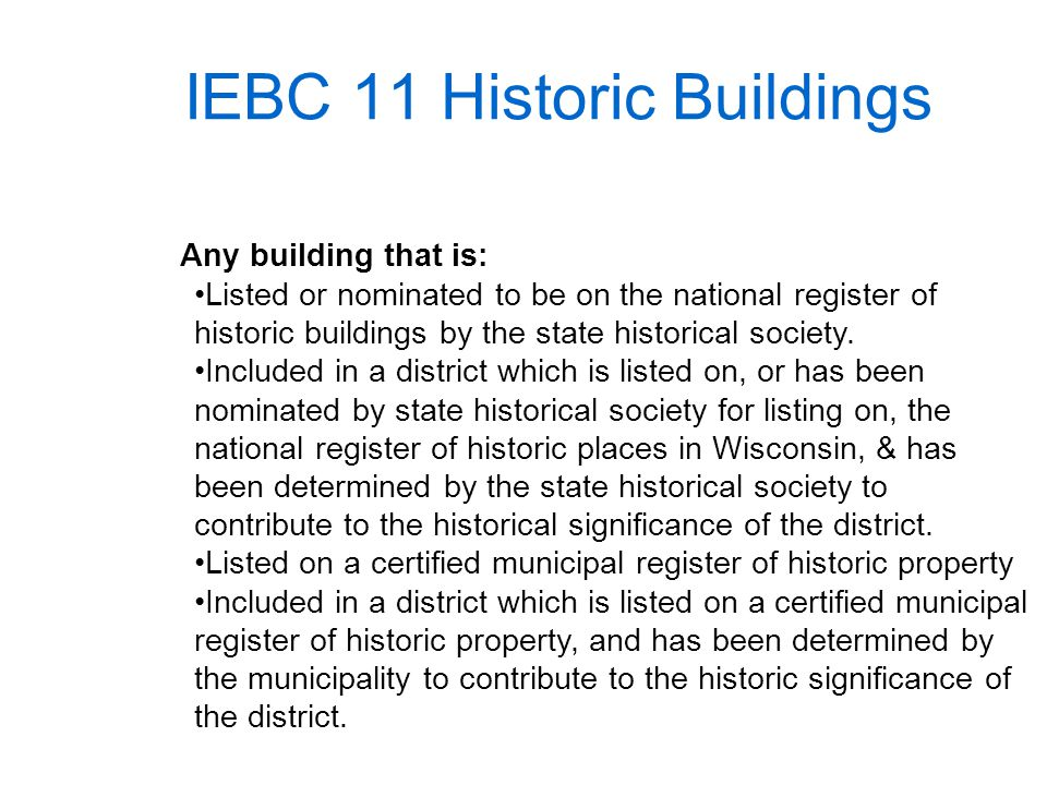 IEBC 11 Historic Buildings