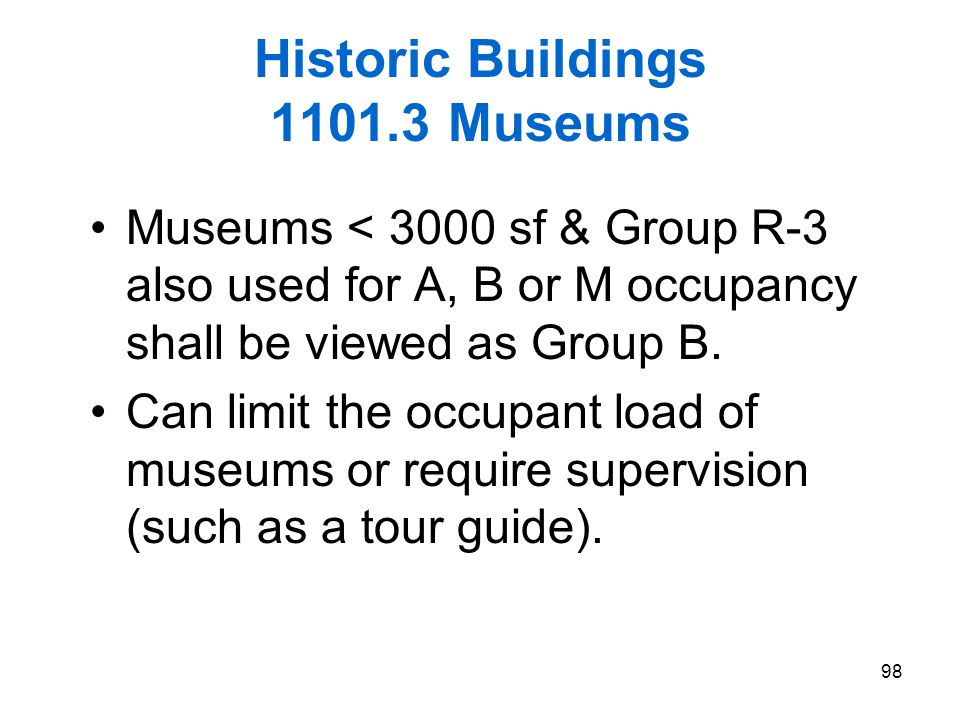 Historic Buildings 1101.3 Museums