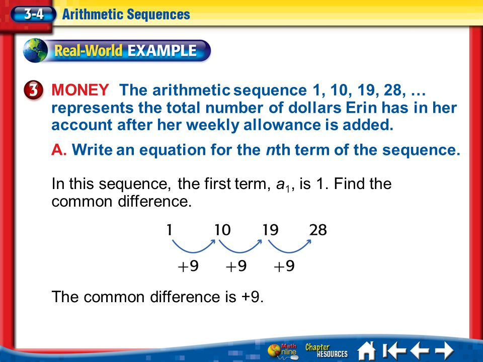 A. Write an equation for the nth term of the sequence.