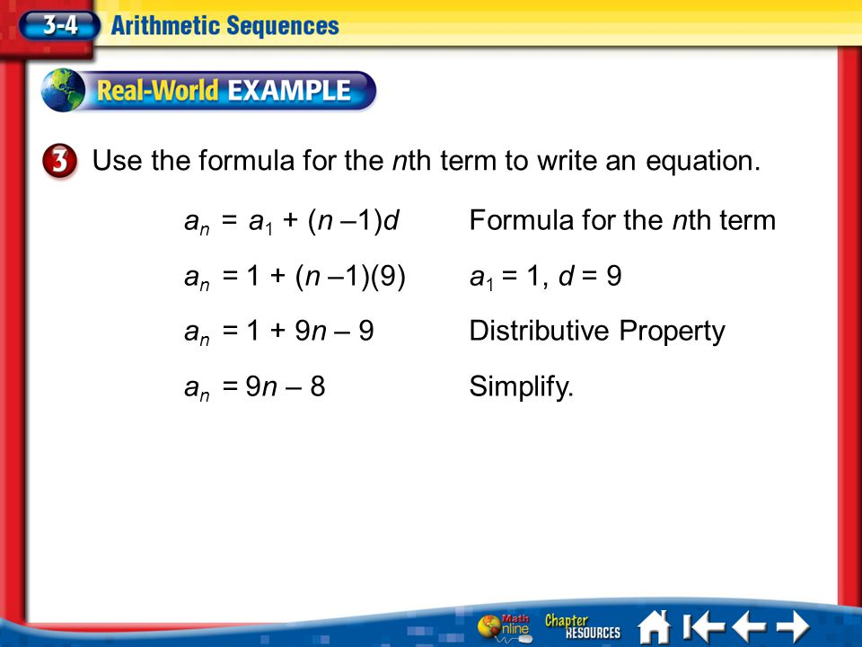 Use the formula for the nth term to write an equation.