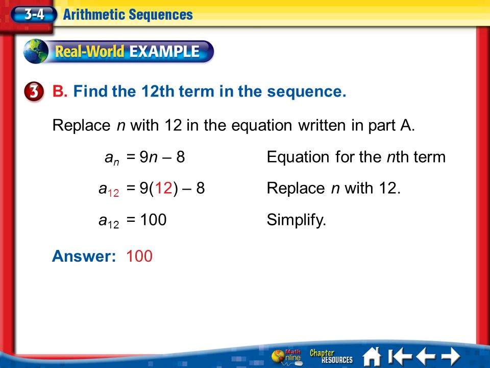 B. Find the 12th term in the sequence.