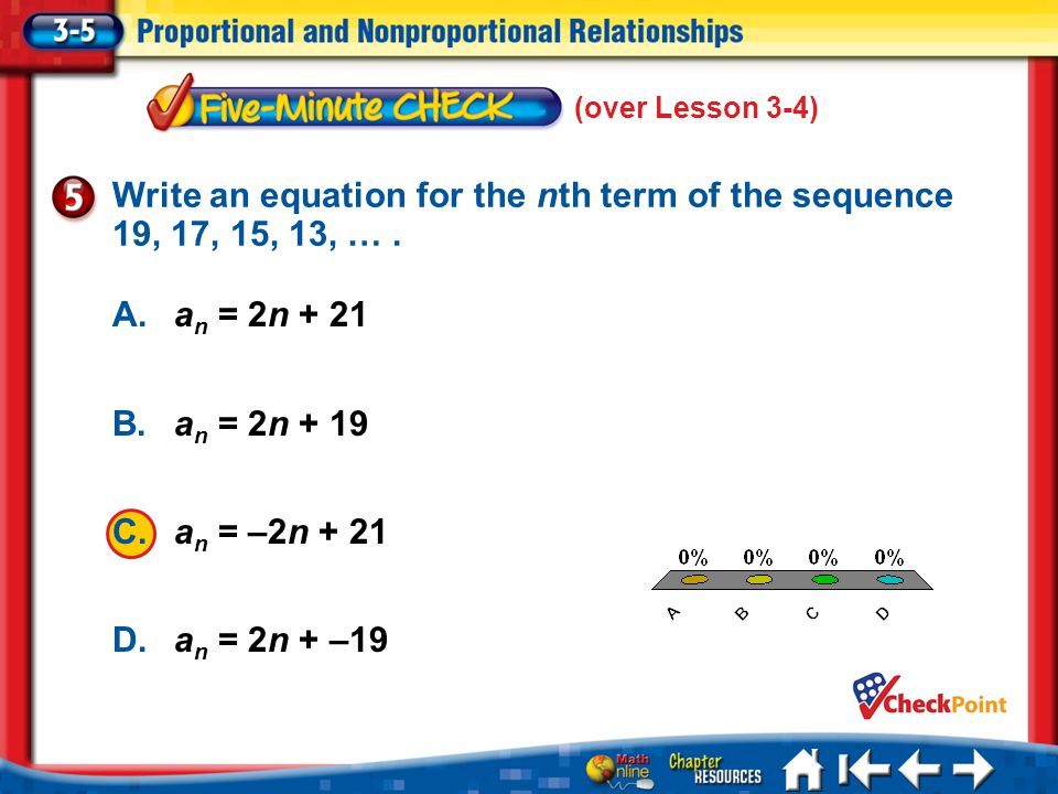 Write an equation for the nth term of the sequence 19, 17, 15, 13, … .